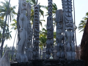Wooden statues carved out of coconut trees.