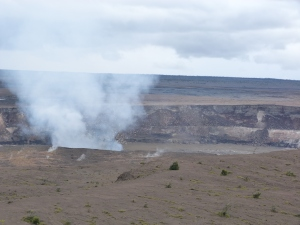 Halema'uma'u Crater within the Kilauea Caldera spewing steam.